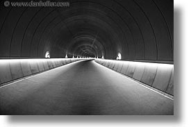 asia, black and white, fisheye lens, horizontal, interiors, japan, kyoto, miho museum, tunnel, photograph