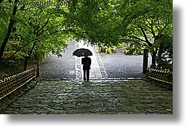 asia, horizontal, japan, kyoto, ryoanji temple, umbrellas, walking, photograph