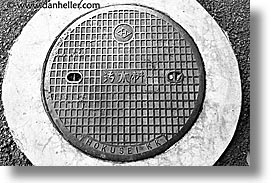 asia, horizontal, japan, japanese, manhole covers, manholes, photograph