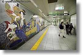 asia, horizontal, japan, murals, subway, photograph
