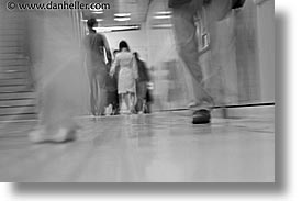 asia, black and white, horizontal, japan, slow exposure, subway, walkers, photograph