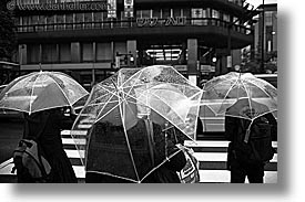 asia, black and white, clear, horizontal, japan, umbrellas, photograph