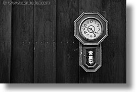 asia, black and white, clocks, horizontal, japan, woods, photograph