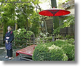 asia, horizontal, japan, japanese, people, red, umbrellas, womens, photograph