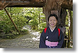 asia, horizontal, japan, japanese, people, trees, tunnel, womens, photograph