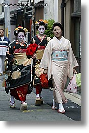 asia, geisha, japan, people, threes, vertical, womens, photograph