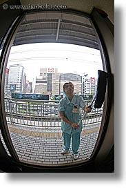 asia, cleaner, fisheye lens, japan, people, vertical, windows, womens, photograph