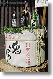 asia, bottles, casks, japan, little things, sake, takayama, vertical, photograph