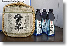 asia, blues, bottles, horizontal, japan, kegs, little things, sake, takayama, photograph
