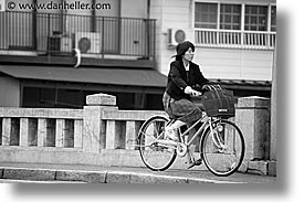 asia, bicycles, black and white, horizontal, japan, people, takayama, womens, photograph