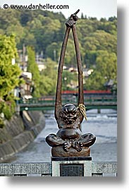asia, japan, reaching, riverbank, statues, takayama, vertical, photograph
