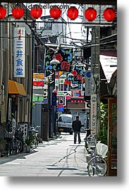asia, japan, lanterns, red, streets, takayama, towns, vertical, photograph
