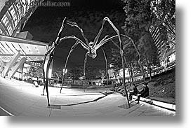 asia, black and white, cityscapes, fisheye lens, horizontal, japan, nite, sculptures, slow exposure, spyder, tokyo, photograph