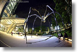 asia, cityscapes, fisheye lens, horizontal, japan, nite, sculptures, slow exposure, spyder, tokyo, photograph