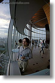 aerials, asia, cityscapes, dusk, fisheye lens, japan, nite, people, tokyo, vertical, photograph