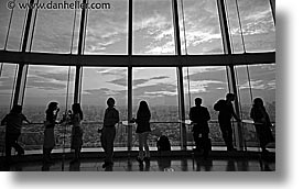 aerials, asia, black and white, cityscapes, dusk, horizontal, japan, nite, people, tokyo, photograph