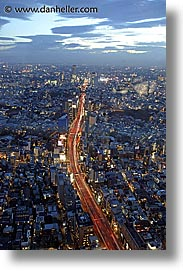 aerials, asia, cityscapes, japan, nite, slow exposure, tokyo, vertical, photograph