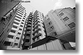 asia, black and white, buildings, cityscapes, horizontal, japan, kanto, odd, shaped, tokyo, photograph