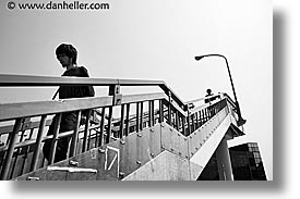 asia, black and white, cityscapes, horizontal, japan, kanto, stairs, tokyo, walkers, photograph