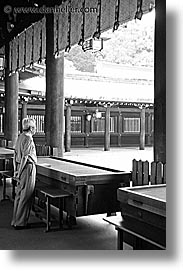 asia, black and white, japan, japanese, kanto, meiji shrine, praying, tokyo, vertical, photograph