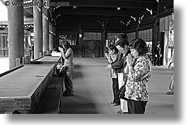asia, black and white, horizontal, japan, japanese, kanto, meiji shrine, praying, tokyo, photograph