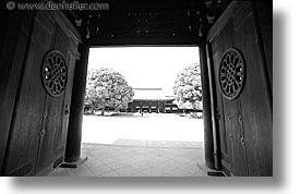 asia, black and white, doors, entry, horizontal, japan, kanto, meiji shrine, shrine, tokyo, photograph