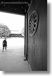 asia, black and white, doors, entry, japan, kanto, meiji shrine, shrine, tokyo, vertical, photograph