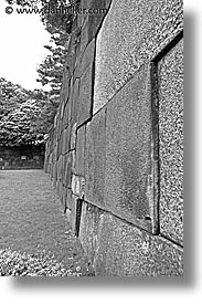 asia, big, black and white, bricks, japan, kanto, royal palace gardens, tokyo, vertical, photograph