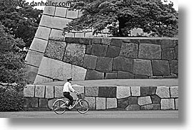 asia, big, black and white, bricks, horizontal, japan, kanto, royal palace gardens, tokyo, photograph