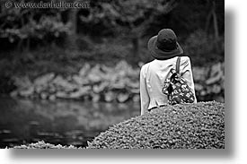 asia, black and white, horizontal, japan, kanto, looking, royal palace gardens, tokyo, womens, photograph