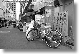 asia, bicycles, black and white, horizontal, japan, kanto, parked, streets, tokyo, photograph