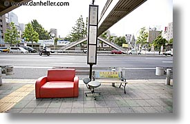 asia, couch, horizontal, japan, kanto, red, streets, tokyo, photograph