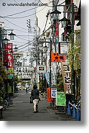 asia, japan, kanto, signs, streets, tokyo, vertical, wires, photograph