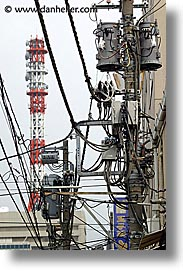 asia, japan, kanto, streets, tokyo, towers, vertical, wires, photograph