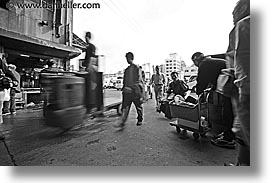 asia, black and white, horizontal, japan, kanto, motion, people, tokyo, tsukiji market, photograph