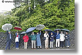 asia, groups, horizontal, japan, tour group, umbrellas, photograph