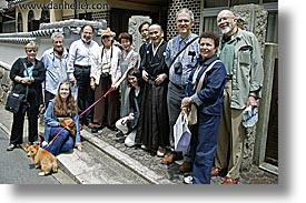 asia, dogs, groups, horizontal, japan, tour group, photograph