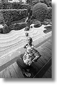 asia, black and white, gardens, japan, jills, tour group, vertical, zen, photograph