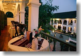 asia, buildings, dining, horizontal, hotels, laos, luang prabang, structures, tables, photograph