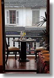 asia, buildings, dining, doorways, hotels, laos, luang prabang, structures, tables, vertical, photograph