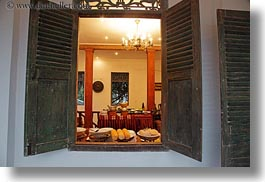 asia, buildings, chandelier, foods, horizontal, hotels, laos, lights, luang prabang, open, structures, windows, photograph