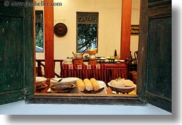 asia, buffet, buildings, foods, horizontal, hotels, laos, luang prabang, open, structures, windows, photograph