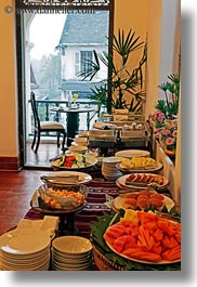 asia, buffet, buildings, foods, hotels, laos, luang prabang, open, structures, vertical, windows, photograph