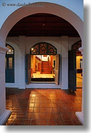 archways, asia, buildings, hotels, laos, luang prabang, open, structures, vertical, windows, photograph