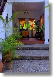 asia, buildings, foyer, hotels, laos, luang prabang, plants, structures, vertical, photograph