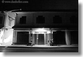 asia, black and white, buildings, horizontal, laos, luang prabang, nite, photograph