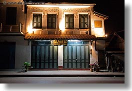 asia, buildings, glow, horizontal, laos, lights, luang prabang, nite, photograph