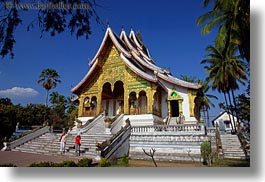 asia, buildings, haw kham, horizontal, laos, luang prabang, nature, palace, palm trees, plants, temples, trees, photograph