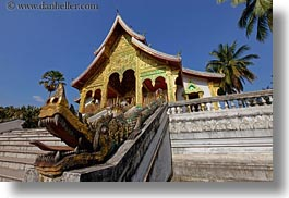 asia, buildings, dragons, haw kham, horizontal, laos, luang prabang, nature, palace, palm trees, plants, temples, trees, photograph