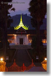 asia, buildings, laos, luang prabang, museums, nite, palace, vertical, photograph